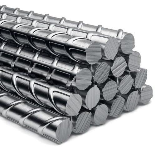 Стопка стальной рифленой арматуры